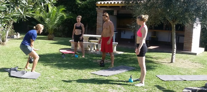Kettlebell training in the garden